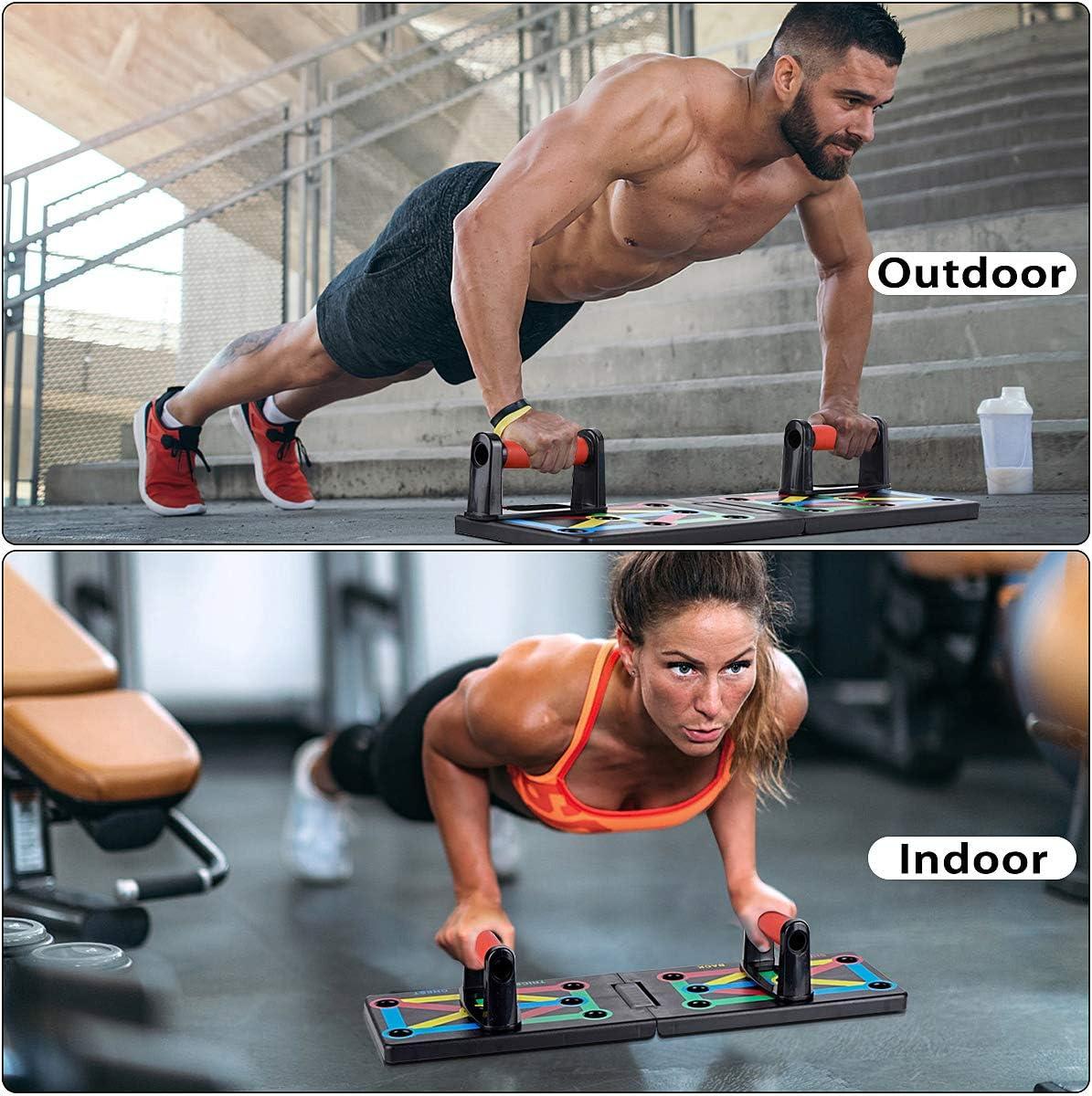 ISE 12 in 1 Push Up Musculation Push Up Board avec Poign/ée Pliable Multifonction de Pompes Abdominaux entra/înement de Fitness SY-MG006