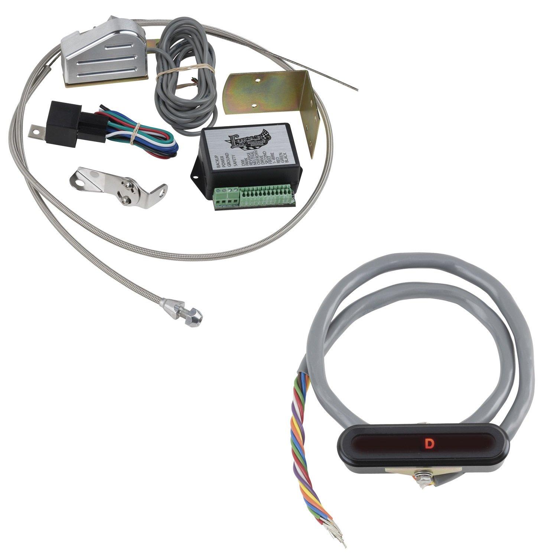Lokar XCIND-1715 Black Aluminum Cable Operated Horizontal LED Dash Indicator Kit for GM 350/400 Transmission