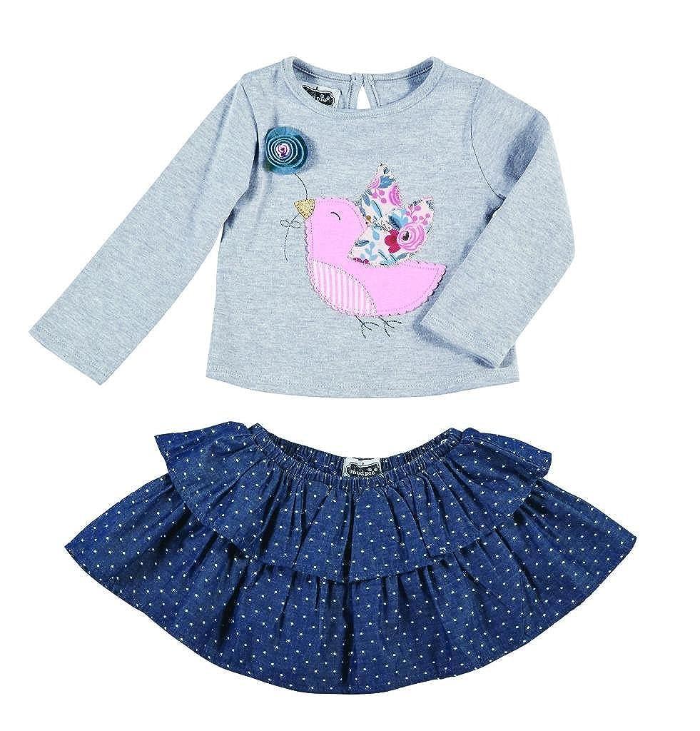 Mud Pie Girls Secret Garden Top and Tiered Skirt Set Bird Applique