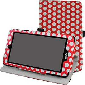 "Acer B1-780 / B1-790 Rotating Case,Mama Mouth 360 Degree Rotary Stand with Cute Cover for 7"" Acer Iconia One 7 B1-780 / Iconia One 7 B1-790 Android Tablet,Polkadot Red"