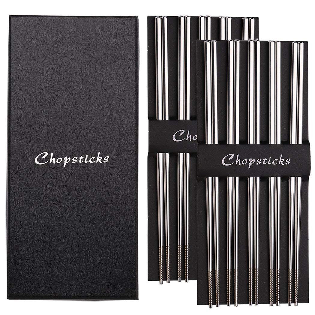 Devico Chopsticks, Metal Chopsticks, 18/10 Stainless Steel Chopstick Set, Reusable, Dishwasher Safe (10-pair)