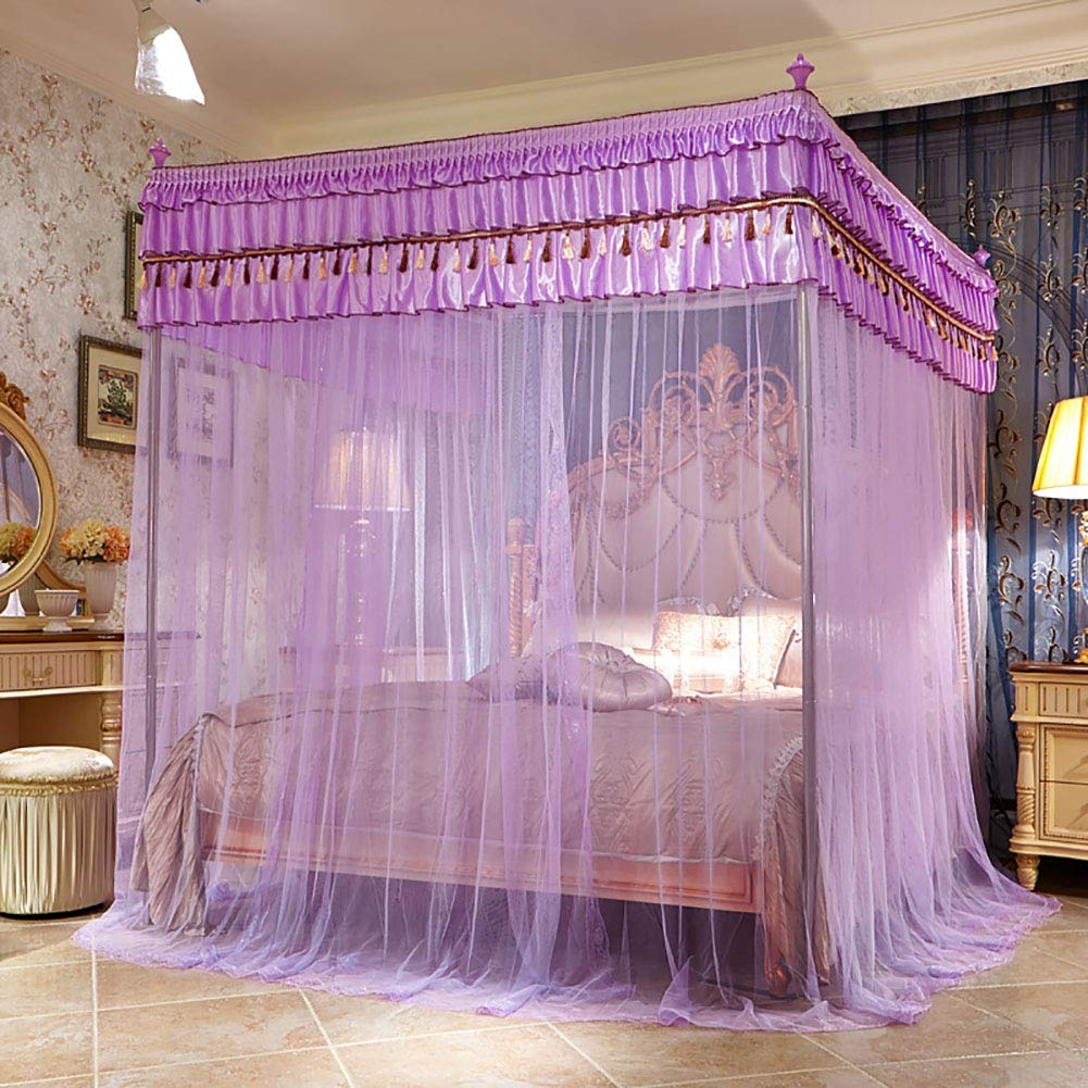 Three Open Doors Mosquito Net Bed Canopy Floor-Standing Rail Type Folding Retractable Net Tent Indoor Decorative,Purple,150200CM