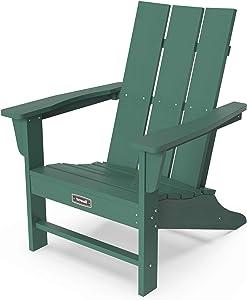 SERWALL Adirondack Chair Outdoor Classic Chair Weather-Resistant for Patio Deck Garden, Backyard Composite Chair Design-Green
