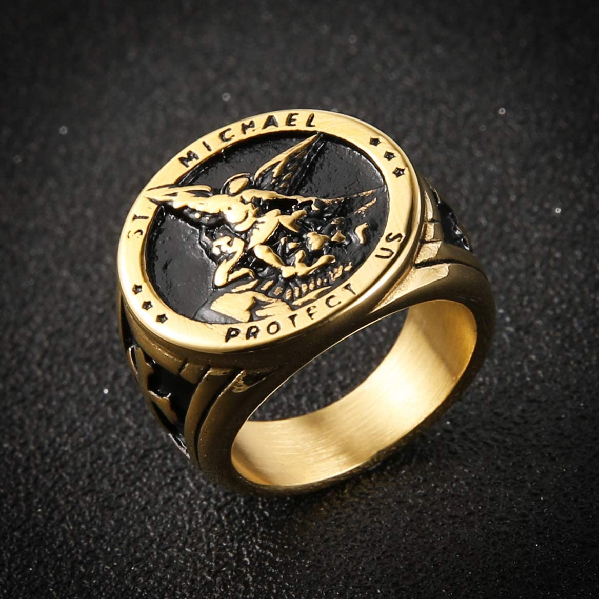 HZMAN St Michael San Miguel The Great Protector Archangel Defeating Satan Figurine Stainless Steel Amulet Ring