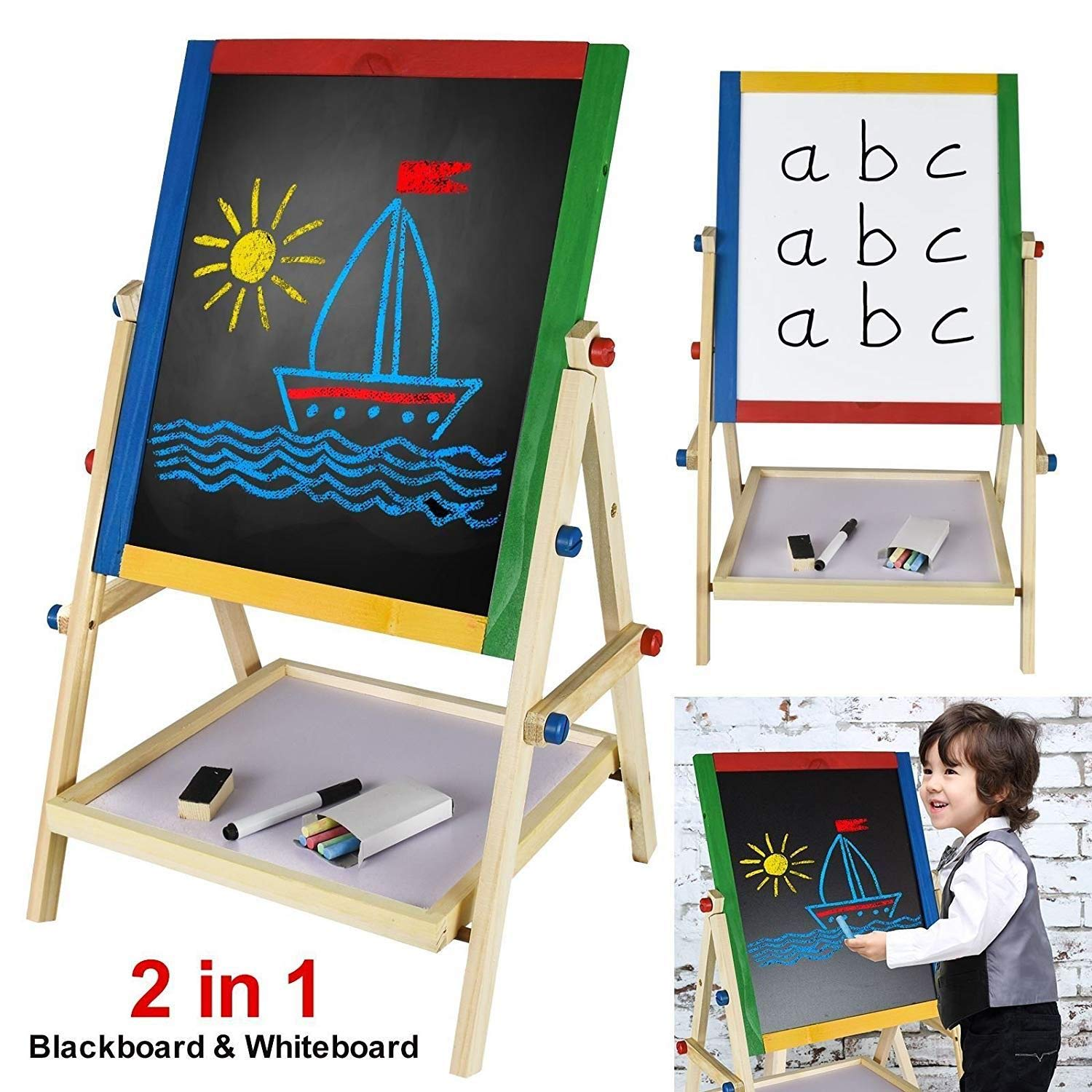 Popamazing Kids 2 in 1 Black/White Wooden Easel Chalk Drawing Board for Child Educational True Face