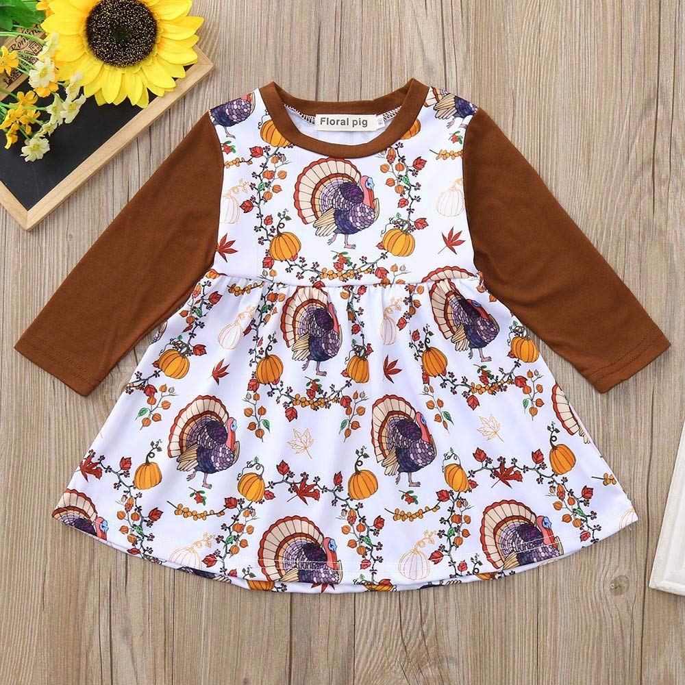 fb07dc4c3fc Amazon.com  Lavany Baby Girls Dress Thanksgiving Day Pumpkin Print Clothes  Long Sleeve Dresses  Clothing