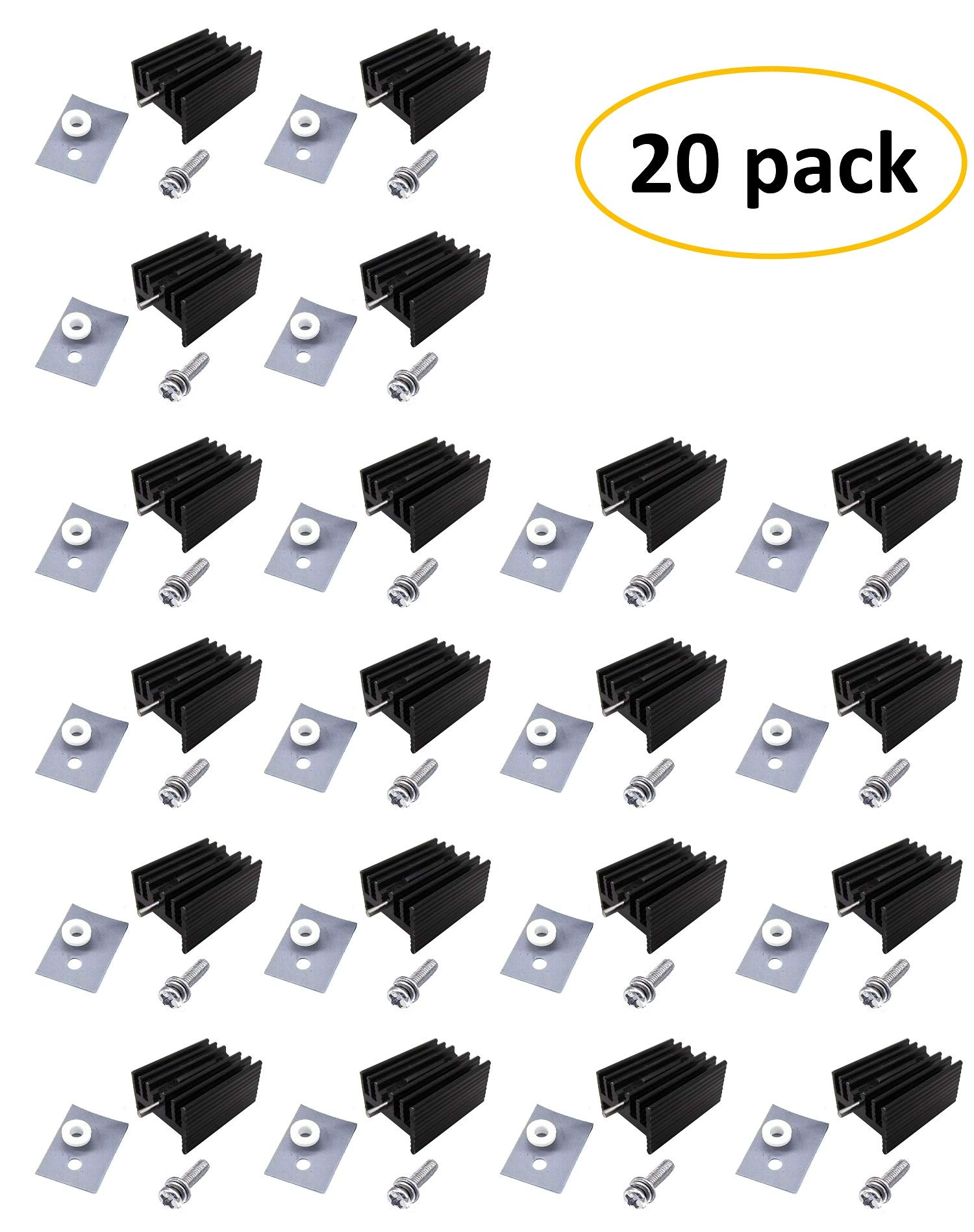 Easycargo TO-220 Heatsink + Insulator/Mounting kits (TO220 Heat sink +Screw+Washer+Bushing+Insulator rubberized Silicone) for LM78XX voltage regulator, MOSFET transistor 20mmx15mmx11mm (Black 20 pack) by Easycargo (Image #1)