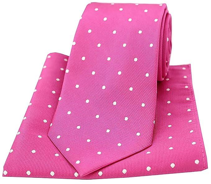 0c0cbce87c8e Soprano Fuchsia and White Polka Dot Silk Tie and Pocket Square: Amazon.co.uk:  Clothing