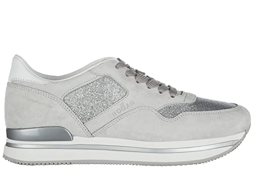 Hogan scarpe sneakers donna camoscio nuove h222 sportivo xl allacciato  argento EU 38.5 HXW2220N624FQS787R