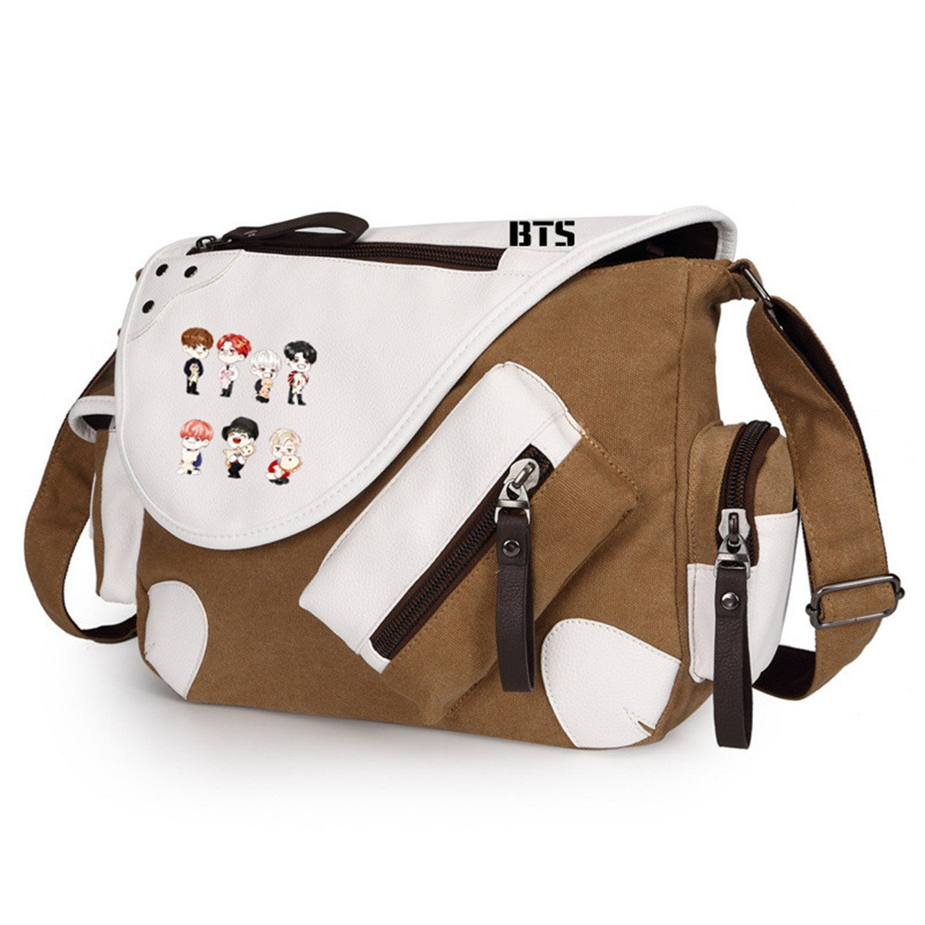 Black 1 JUSTGOGO BTS Bangtan boys Messenger Bag Cross-body Bag Shoulder Bag Travel Bag Handbag Tote Bag