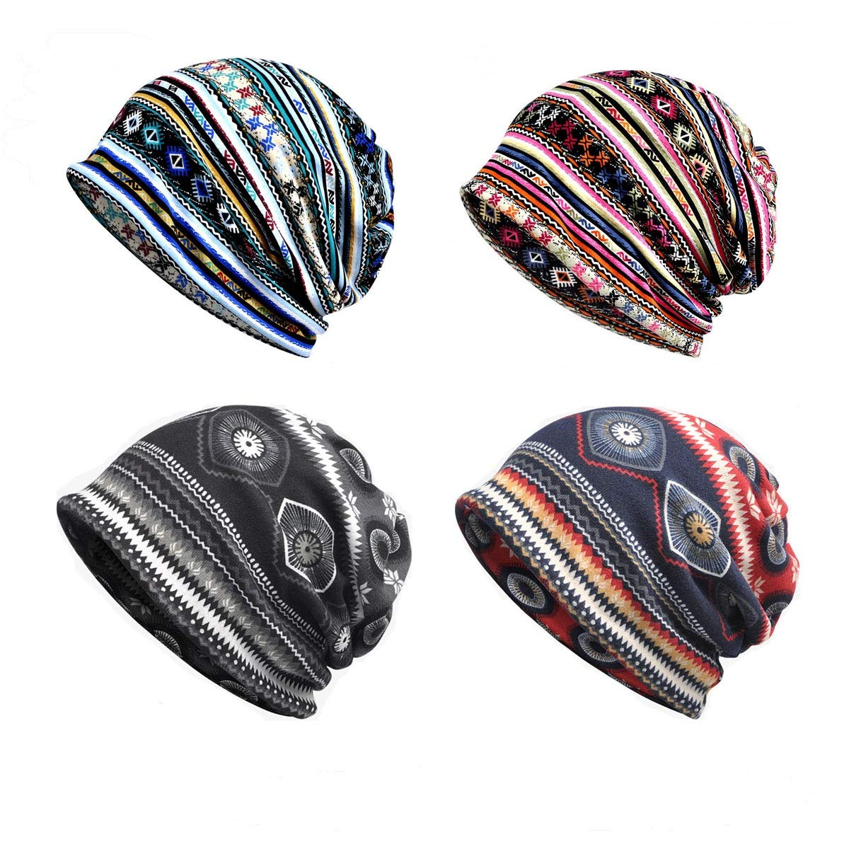 Beanies Chemo Caps Cancer Headwear Skull Cap Knitted hat Scarf for Womens Mens (4pack)