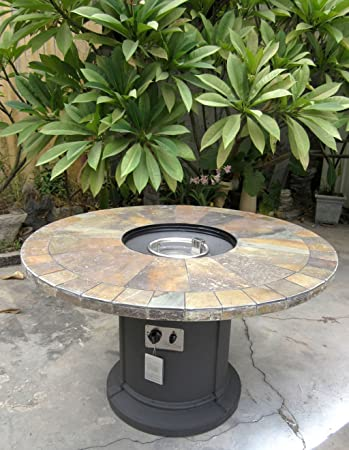 Outdoor Slate Fire Pit Outdoor Dining Table Propane Firepit (Charcoal Base)