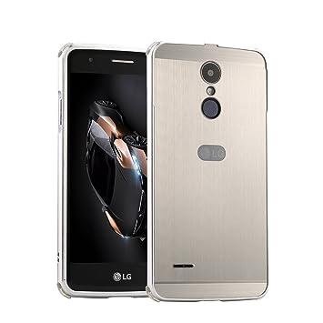LXHGrowH Funda LG K10 2017, Prueba de Golpes Aluminio Metal Bumper y PC Contraportada Protectora Carcasa para LG K10 2017 Color Plata