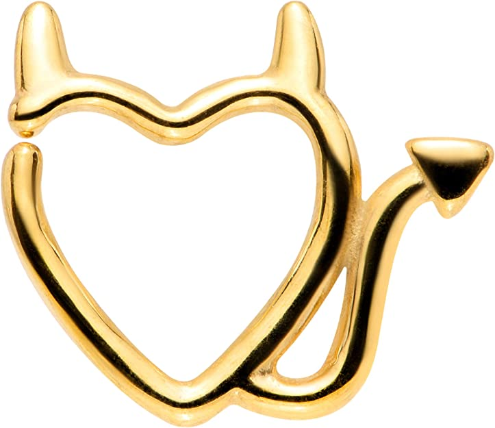 6 or 8mm Gold Devil Heart cz Septum Clicker Ring PVD over Surgical Steel  16G
