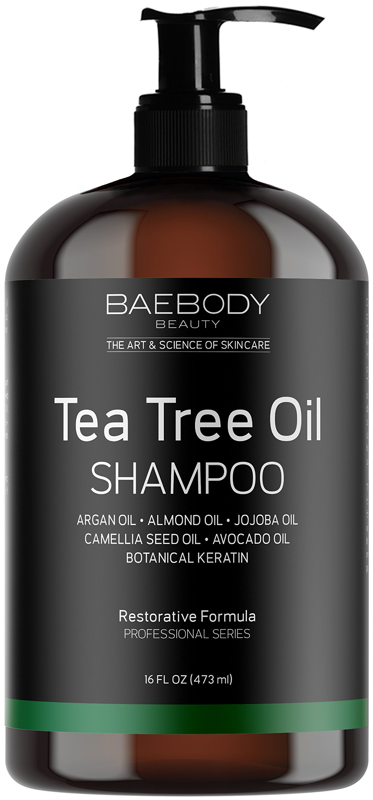 Baebody Tea Tree Oil Shampoo - Helps Fight Dandruff, Dry Hair and Itchy Scalp. For Men and Women. 16 fl oz. by Baebody