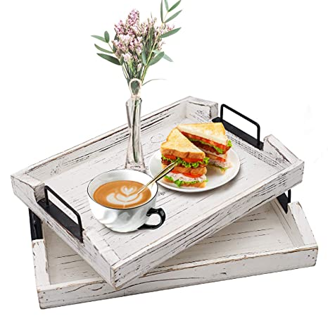 Astounding Wood Serving Tray Ottoman Decorative Trays With Metal Handles For Breakfast Coffee Tables Set Of 2 Dailytribune Chair Design For Home Dailytribuneorg