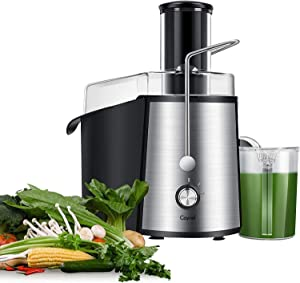 Caynel 1000W NaturoPure Powerful Whole Fruit and Vegetable Juice Extractor, Centrifugal Juicer Machine with 2 Speed Settings, BPA-Free, 75MM Wide Mouth with 1L Juice Jug & 2L Pulp Container