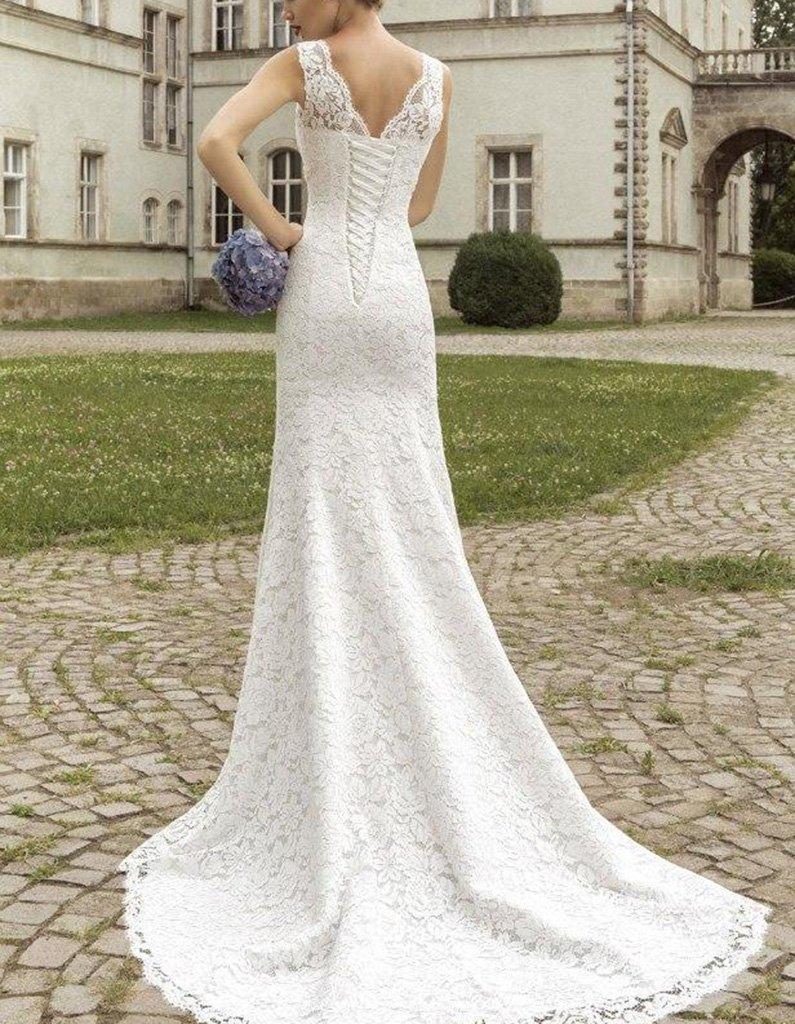 Fanciest Damen Straps Double V Neck Meerjungfrau Spitzen Brautkleider for  Bride White: Amazon.de: Bekleidung