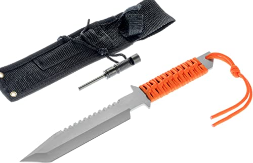 SE 11.5 Fixed Blade Full Tang Tanto Survival Knife with Firestarter - KHK6281OR