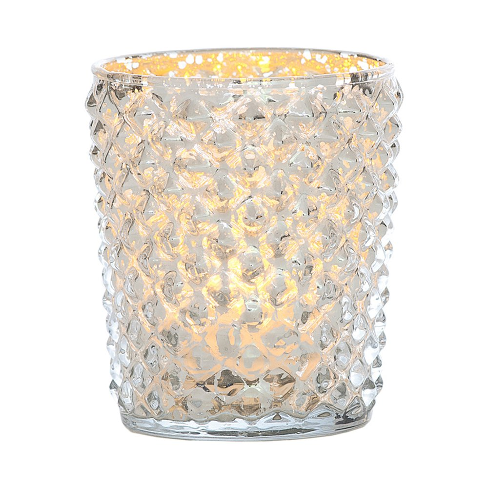 Silver Mercury Glass Tea Light Candle Holder Diamond Zariah Design - Add magic to the Christmas holiday table with silver mercury glass zariah design tea light candle holders. | ChristmasTablescapeDecor.com