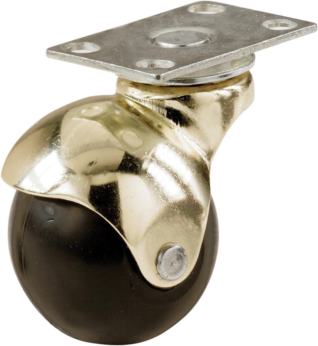 Shepherd Hardware 9517 2-Inch Office Chair Plate Caster, Bright Brass Hooded Ball,Black