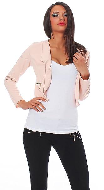 14549c5a7f2042 Fashion4Young 10256 Damen Kurzjacke Blazer Jäckchen Jacke Kurze Bolero-Design  verfügbar in 7 Farben (