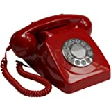 GPO 746 Push Button Retro Telephone with Authentic Bell Ring - Red