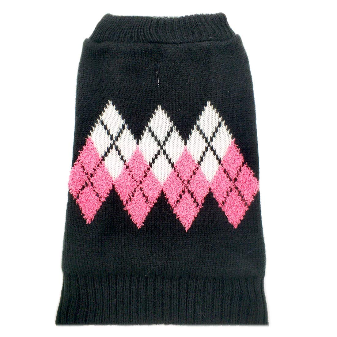 azuza Dog Sweater Dog Knit Pullover Fall Winter Warm Back Length 16'' Pink Color Classic Stripe
