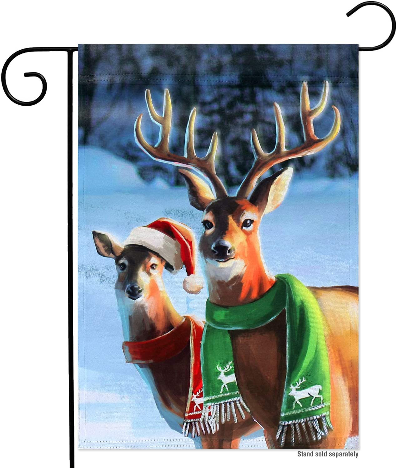YMYIELD Christmas Garden Flags 12x18 Double Sided, Reindeer Garden Flags for Outside, Happy New Year Winter Courtyard Banner Outdoor Indoor Lawn Home Decoration