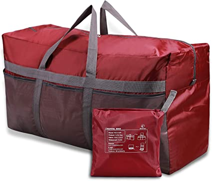 Collapsible Duffel Bag Water Resistant Zipper Pocket Mesh Pockets RED COLOR