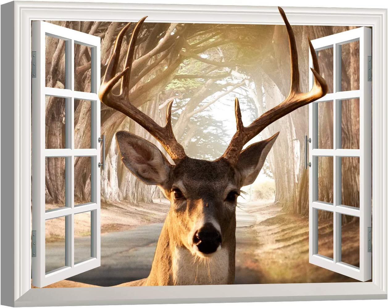 Deer Antler Decor for Living Room Wall Decoration 12x16inch With Frame Brown Deer Canvas Wall Art Home Wall Clearance Bathroom Window View Forest Woodland Landscape Wall Picture Wildlife Hunting Artwork