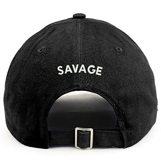 Trendy Apparel Shop Savage (Back) Embroidered 100% Cotton Dad Hat - Black d54838064213