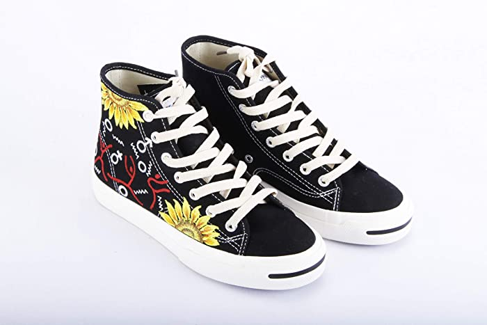 747e553b634f47 Hand Painted Shoes Custom Sneakers Vegan Canvas Shoes Womens Mens Kids Boho  Floral Flower Sunflower Ballet Girl Friend Personalized Hi Tops Lace Up  Tied ...