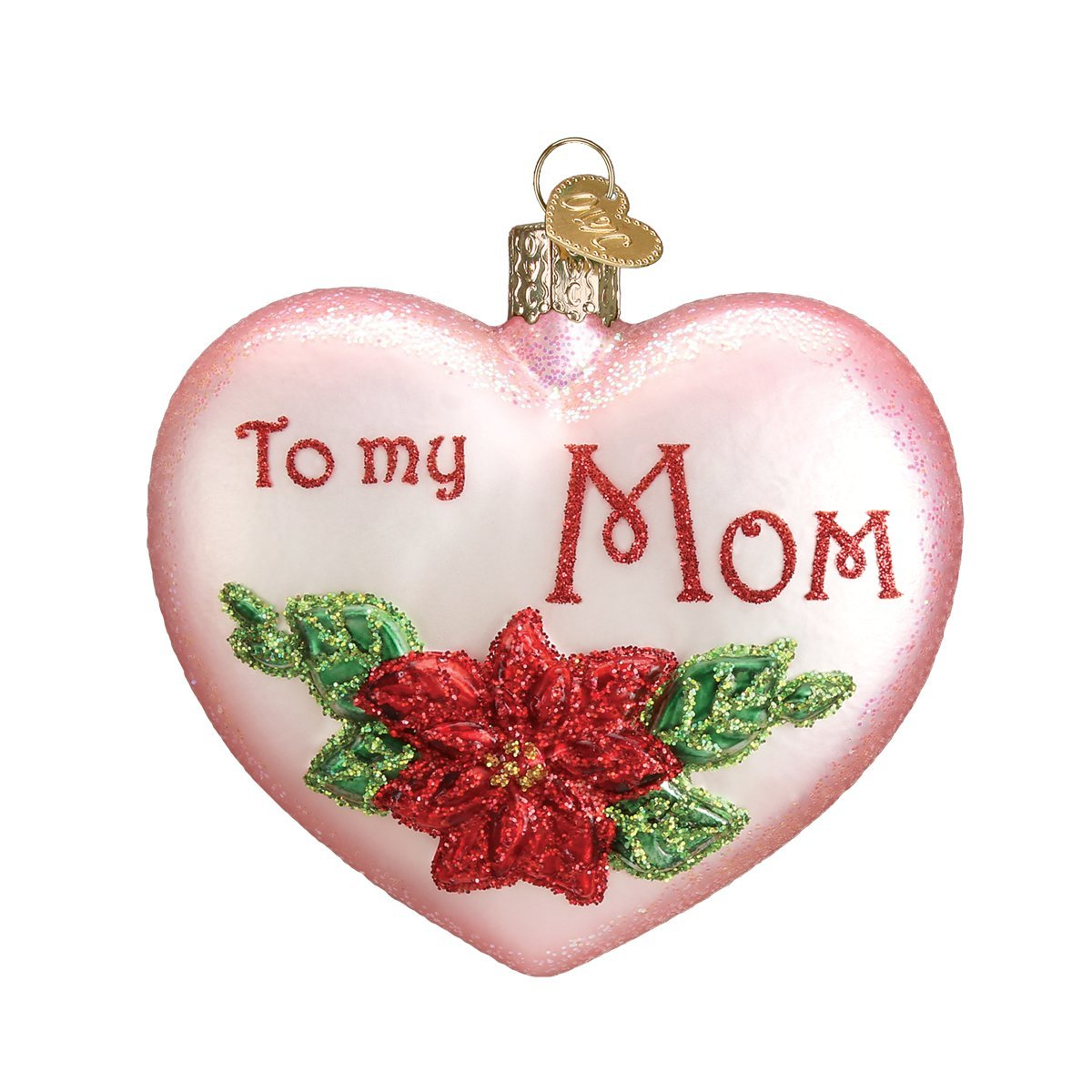 Old World Christmas Ornaments: Mom Heart Glass Blown Ornaments for Christmas Tree