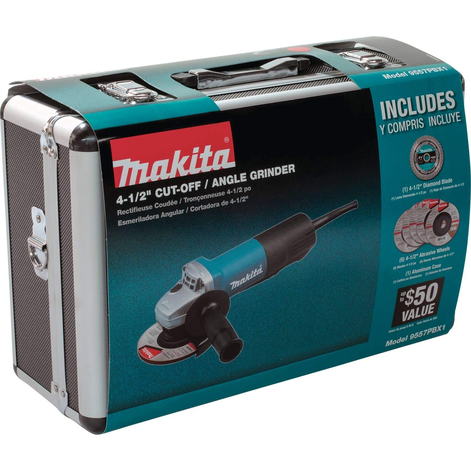 Makita 9557PBX1 4-1//2 In Paddle Switch Angle Grinder w// Case and Grinding Wheels