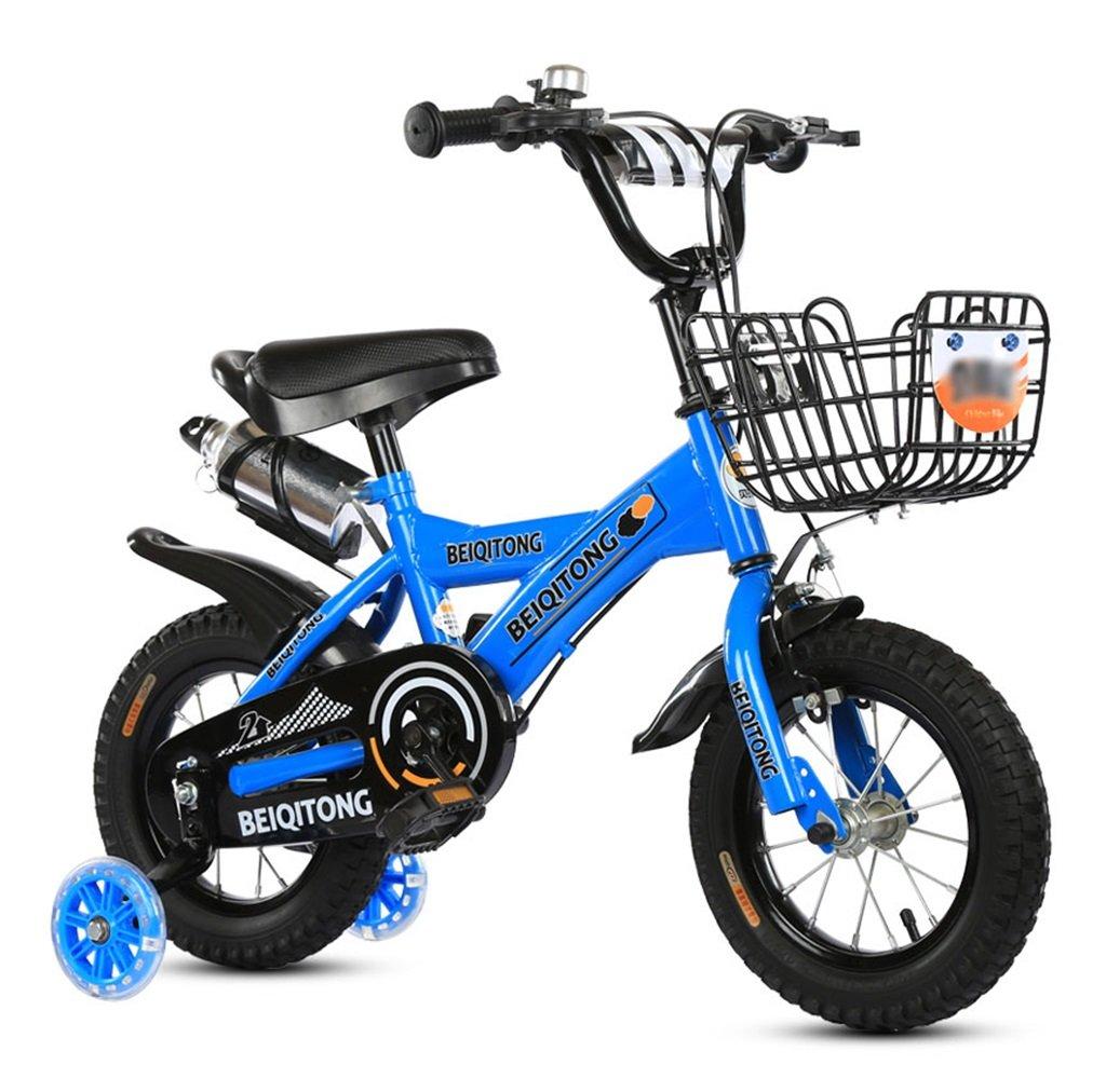 子供の自転車12|14|16|18|20インチ屋外の子供ベイビーキッドマウンテンバイクフラッシュトレーニングホイールで2歳から11歳の男の子の女の子の贈り物|アイアンバスケット|ウォーターボトルセーフ B078JM4S94 18 inches|青 青 18 inches