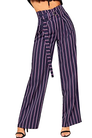 Womens Ladies Striped Monochrome Wide Leg Belted Pockets Flared Palazzo Trousers