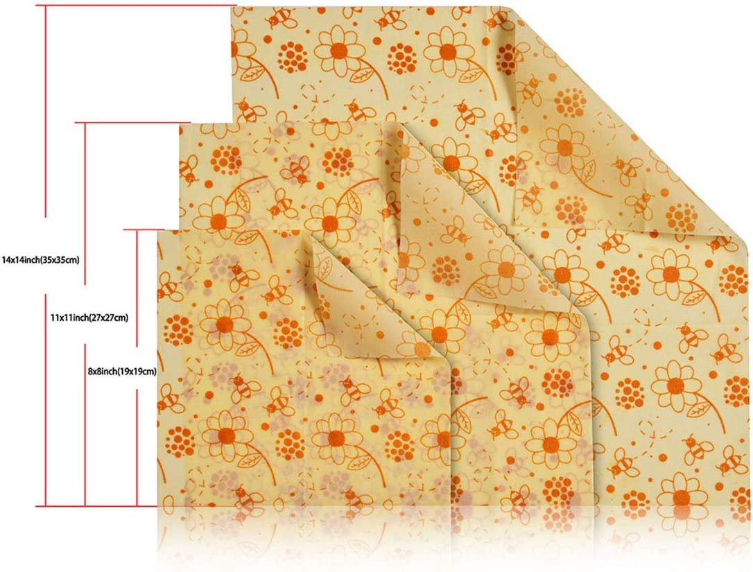 Beeswax Wraps, Kitchen Storage, Cheese Bag, Bread Bag, Food Wraps, Set of 3 Sizes (S, M, L) Bee Kitchen for Sandwich, Cheese, Fruit, Bread, Snacks  Alternative to Plastic Bags, Cling Wrap