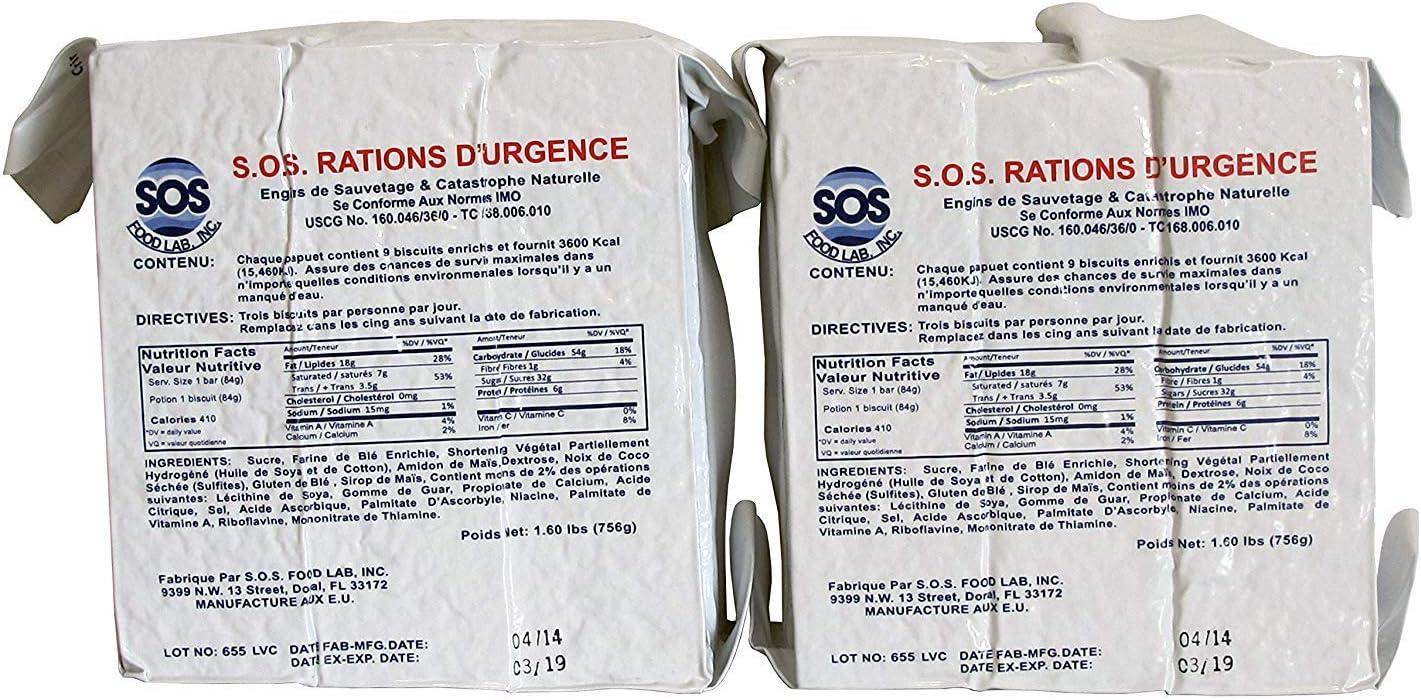 SOS Food Labs 185000826 Emergency 3600 Calorie Food Bar (Pack of 2)