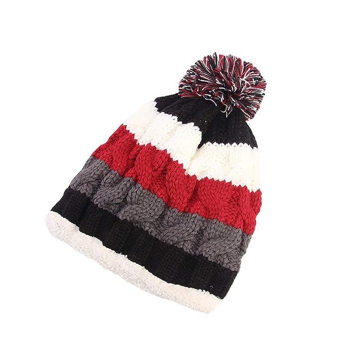 f4b57f55d Women Soft Stretch Knit Rainbow Stripe Crochet Wool Ski Slouchy Caps ...