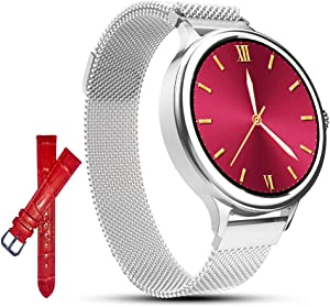 AMATAGE Smart Watch for Women for iPhone Android Phones, Fitness Activity Tracker Watch with Heart Rate, Sleep Monitor, Blood Pressure Monitor, Full Touch Screen, Extra Leather Band (Silver 1)