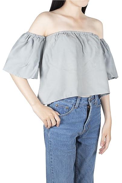 Lofbaz Camisetas Sin Hombros DE Mujer DE VANGUARDIA 100% DE Rayón DE Y Blusas DE Verano - Camisetas Suaves Y Ligeras Para Mujeres: Amazon.es: Ropa y ...