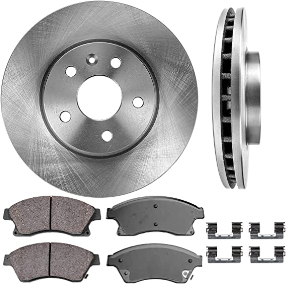 CRK11239 FRONT 276mm Premium OE 5 Lug [2] Brake Disc Rotors + [4] Ceramic Brake Pads + Clips [fit Chevy Cruze Sonic]