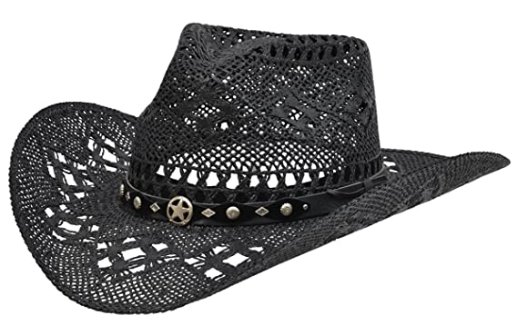 53c00cea1a7 Alamo Black Twisted Toyo Straw Hat with Hondo Crown at Amazon ...
