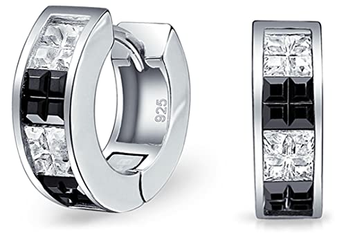 f539d63f563fa Black White Invisible Cut Channel Set CZ Checkboard Cubic Zirconia Huggie  Hoop Earrings For Men Women Sterling Silver