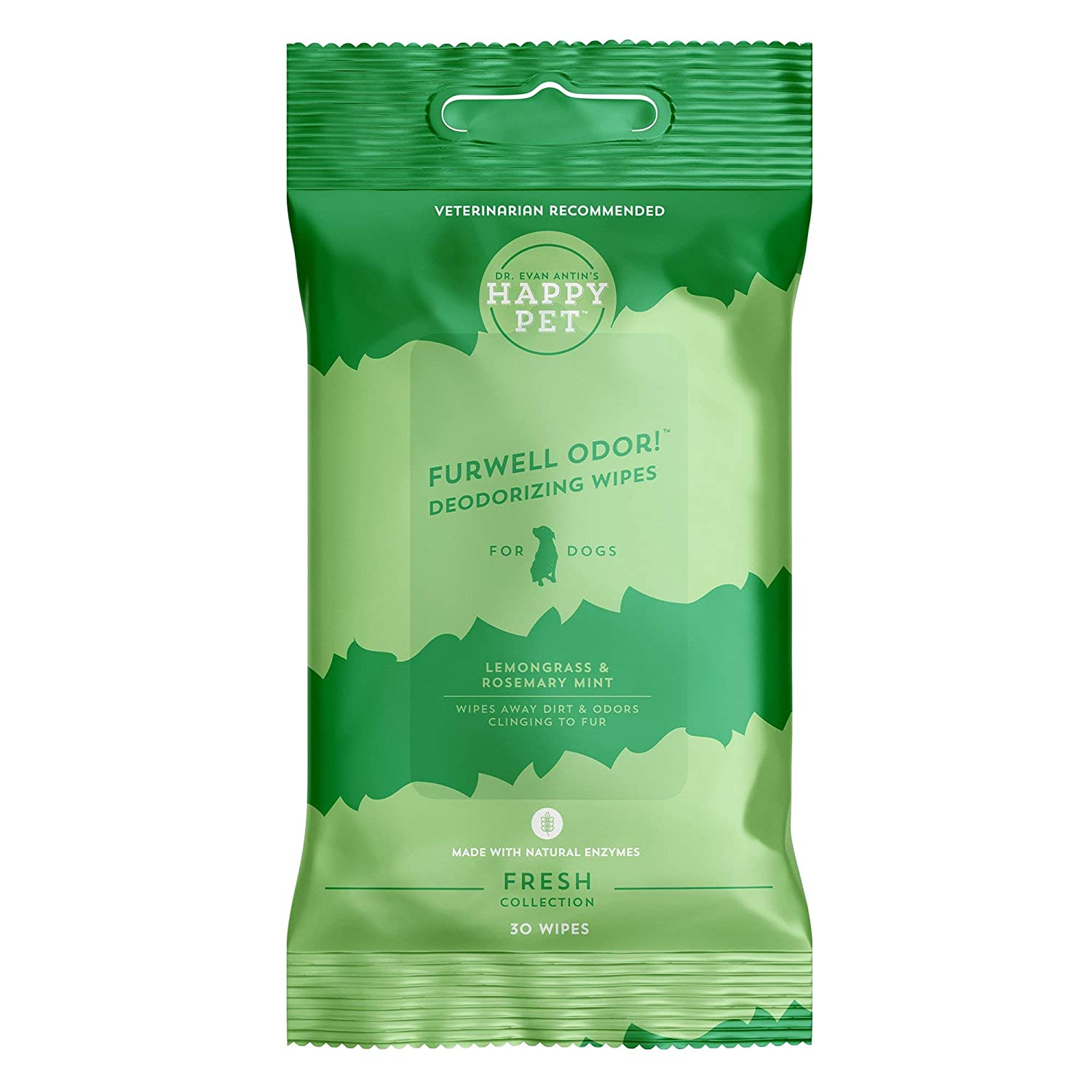 Happy Pet Furwell Odor Deodorizing Wipes   No Rinse Dog Wipes   with Natural Enzymes   Recommended by Veterinarian Dr. Evan Antin   30 Count