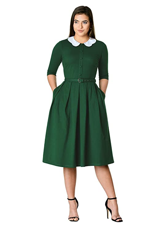 Vintage Tea Dresses, Floral Tea Dresses, Tea Length Dresses eShakti Womens Scallop poplin Collar Cotton Knit Shirtdress $69.95 AT vintagedancer.com