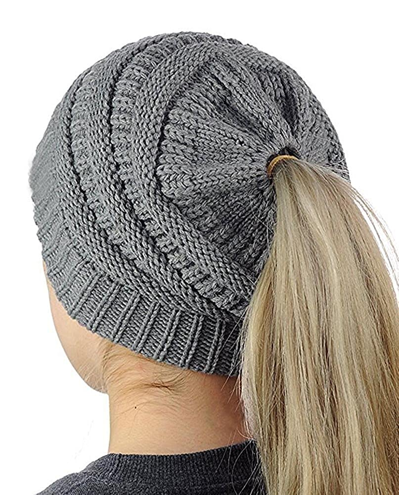 b6287af1d40 Womens Slouchy Beanie Knit Winter Messy Bun Hats Chunky Cable Knit Ponytail  Caps (One Size