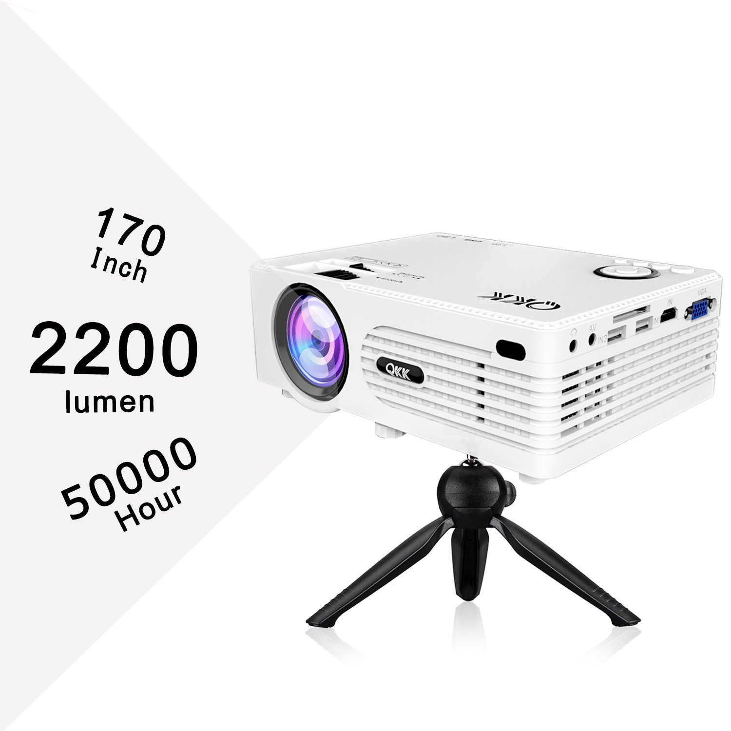 """QKK 2200lumen Mini Projector - Full HD LED Video Projector 1080P Supported, 50,000 Hour Lamp Life with 170"""" Big Display for Home Teather, HDMI, TV, SD Card, AV, VGA, USB x2, iPhone, iPad, Android, PS4"""