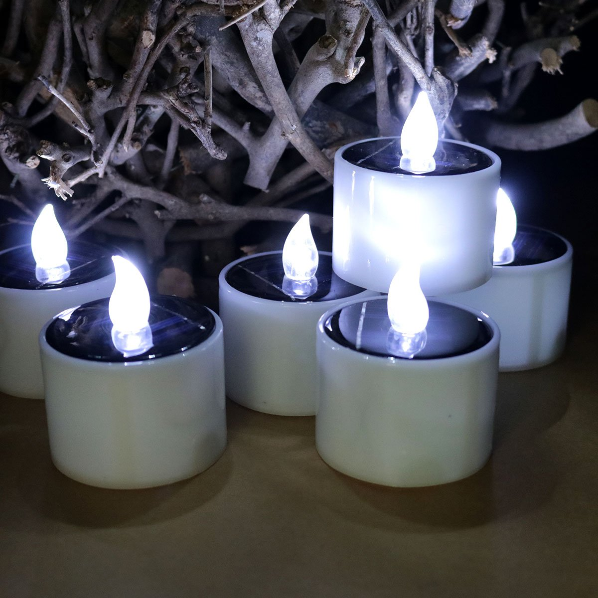 Youngerbaby Set of 6 Romantic Solar Power LED Tea Lights Candle Flameless Candles, LED Tealights for Home Decoration,Garden,Outdoor(Cool White)